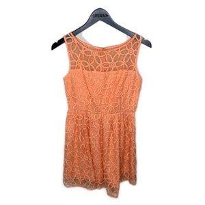 BB Dakota orange floral high neck bell dress